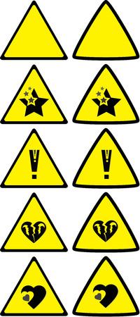 risky love: Set di sotto segni di costruzione per la variet� di situazioni di vita