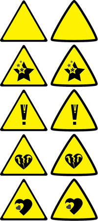 risky love: Set of under construction signs for variety of life situations Illustration
