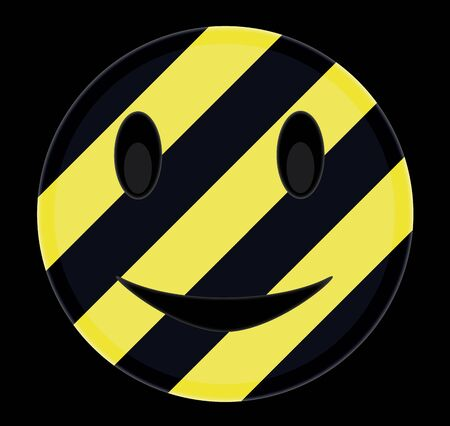 Emoticon with a hazardous pattern for construction purposes. 矢量图像