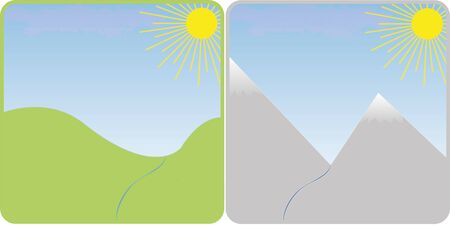 skyblue: Minimalist scenery of hills for season settings Illustration