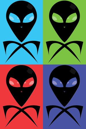 Extrarestrial Jolly Roger in Farbvarianten Vektorgrafik