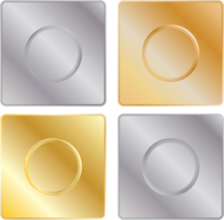 metal textures: Set of metal textures with buttons Illustration