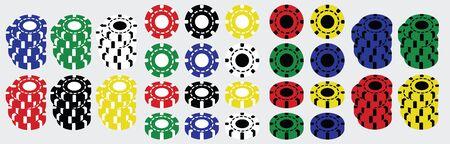 Set of colored casino poker chips 矢量图像