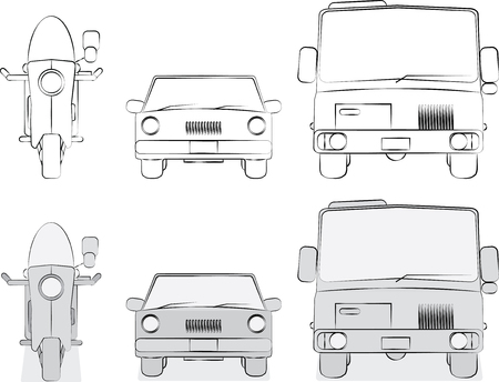 Vehicles sketches and shaded sketches versions vector 矢量图像