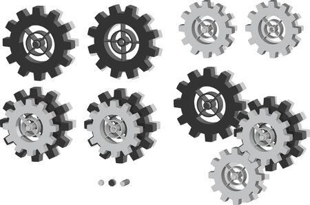 Set of gears and variations in 3d perspective