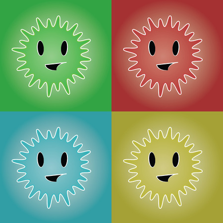 Smiling sunny face in color set variations