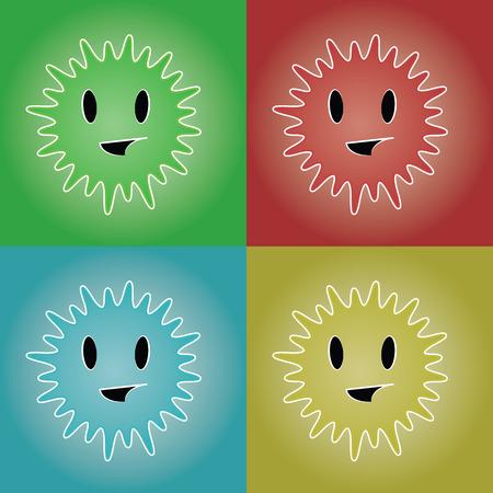 variations set: Smiling sunny face in color set variations