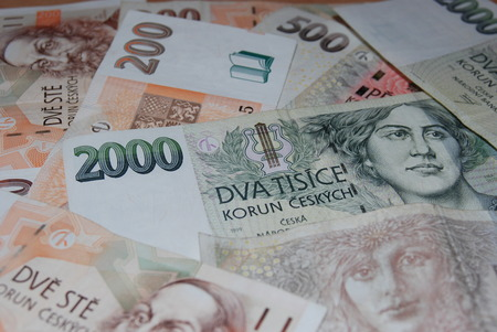 Background composed of banknotes Czech crown