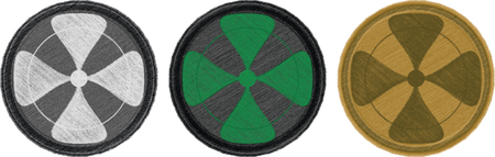 Variations of coloured four-leaf textile combat patches