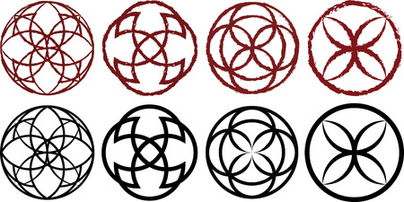 Decorative circular runes in dark red and black variations