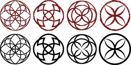 Decorative circular runes in dark red and black variations
