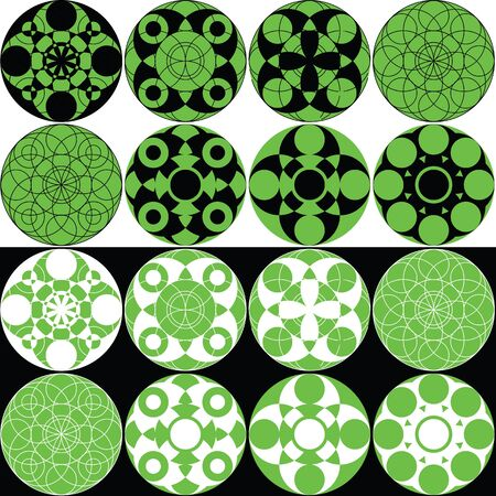 perplexity: Decorative circular patterns in green and black variations