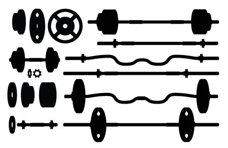 Set of gym weights and accessories silhouettes