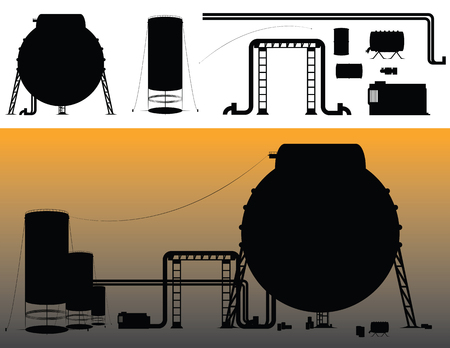 Set of industrial - refinery buildings and accessories silhouettes