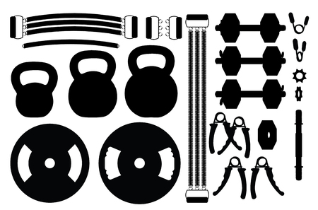 Set of gym accessories silhouettes