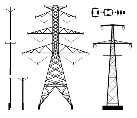 Set of high voltage poles and accessories silhouettes 일러스트
