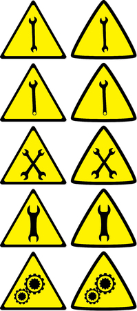 dangerous construction: Set of under construction signs for variety of life situations Illustration