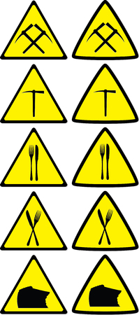 Set of under construction signs for variety of life situations 일러스트