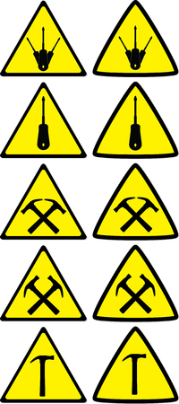 Set of under construction signs for variety of life situations Illustration