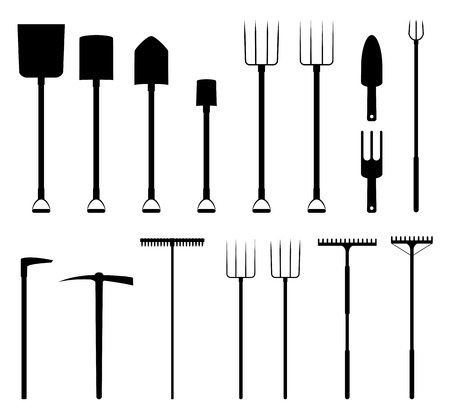 Collection of gardening tools silhouettes for decoration and collage Illustration