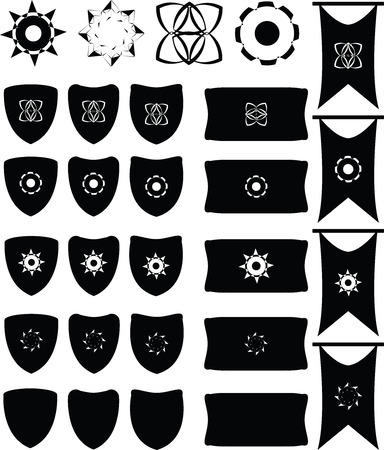 Heraldic set of shields and signs for design. 免版税图像 - 85364643