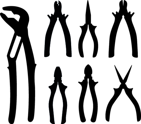 Pliers silhouette set for design and graphic work Illustration