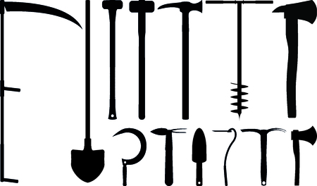 Garden tools silhouette set for design and graphic work