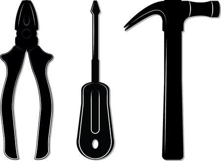 Simple tool set with white contours for design and propagation 免版税图像 - 87723223