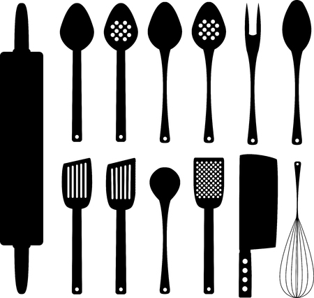Set of kitchenware silhouettes for design and propagation Illustration