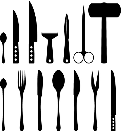 Set of kitchenware silhouettes for design and propagation 일러스트