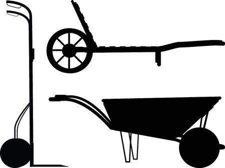 Wheelbarrow silhouette set on white  for design and propagation