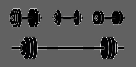 Simple dumbbells set for design and info graphic