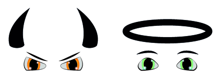 Set of good and evil cartoon eyes
