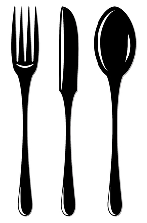 Simple cutlery set for design and infographic 일러스트