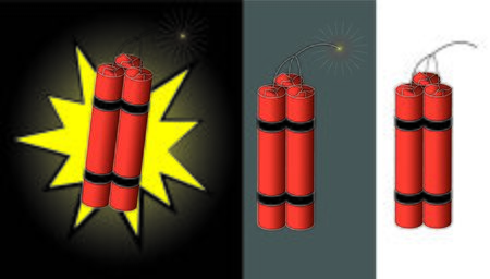 Explosive sticks with sparking fuse cord Illustration