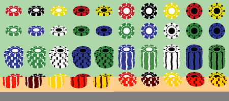 Set of colored casino poker chips 免版税图像 - 88921350