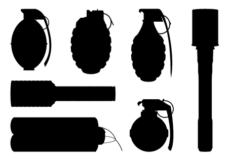 Set of hand grenade silhouettes fro design and graphical layouts 일러스트