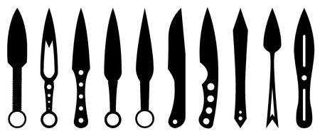 デザインと情報グラフィック用に設定されたナイフ