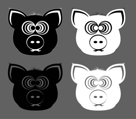Black and white pig heads on a grey background Illustration