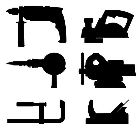 Black set of workshop tools on a white background Illustration
