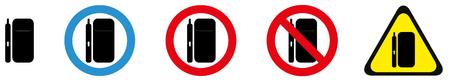 Conjunto de señales de advertencia para el sistema de tabaco iqos.