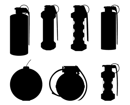 Set of hand grenade silhouettes for design and graphical layouts Illusztráció
