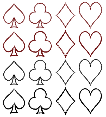 Set of stylized card symbols with bloody marks