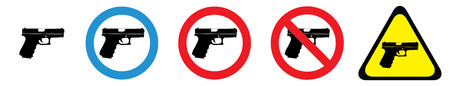 Set of warning signs for firearms owners