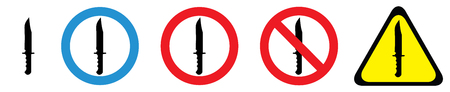Set of warning signs for knife owners