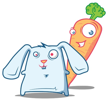carrot nose: Happy pals - mr.Carrot and a little crazy Rabbit Illustration