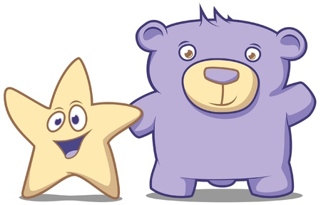 star cartoon: Little star and his friend Bear waving their hands