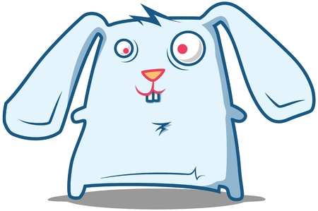 Fluffy Rabbit with big ears looks silly Illustration