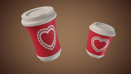 Ultra-high resolution 52nd frame of 3D animation of Bouncing coffee take away cups with hippie Hearts labels Stock Photo