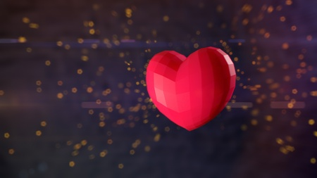 Ultra-high resolution 83rd frame of 3D animation of Ruby heart bursting with sparks in slow-motion with shallow depth of field and anamorphic flares